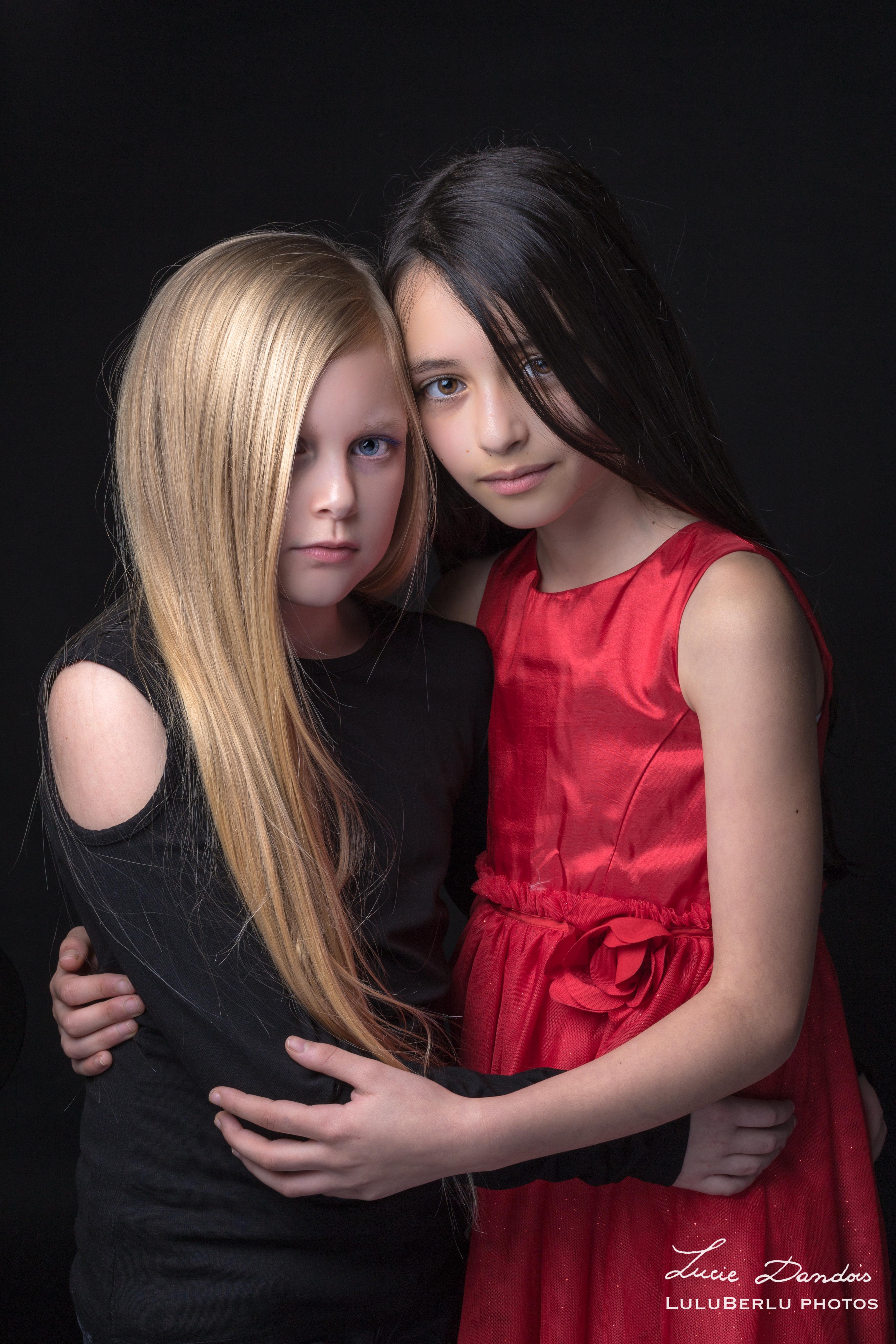 séance photo sur fond noir enfants